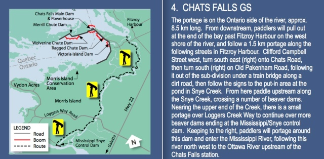 official OPG instructions on how to get around Chats Falls