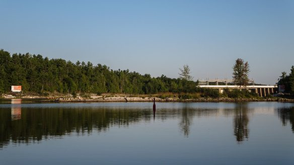 looking back to the Chenaux dam on the Ontario side