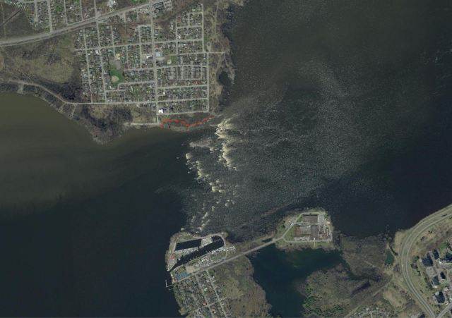 Deichendes Rapids - a satellite view of high water conditions