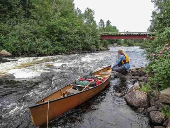 logging road bridge and rapids south of Lac Pomponne