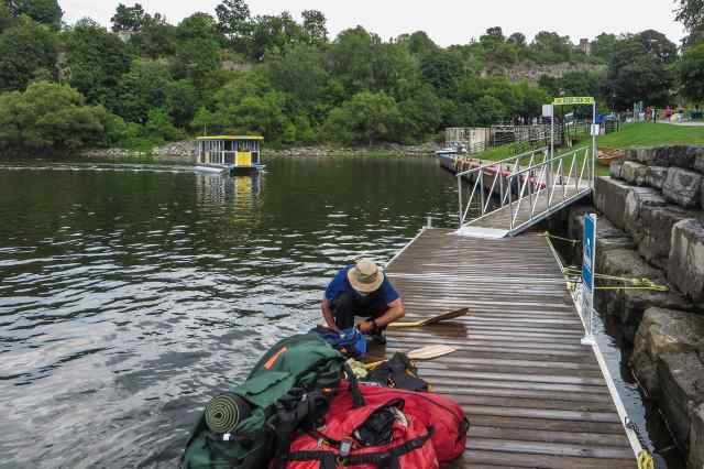 our packs on the dock at the bottom of the Rideau Canal