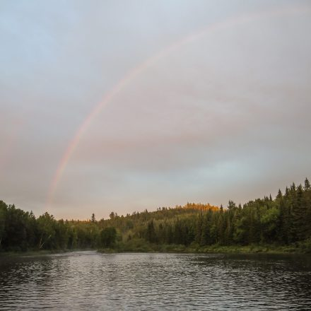 rays of sun and a rainbow after the big rain - view from Tall Pine camp