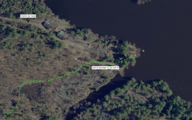 satellite view of put-in area on Pontiac Bay