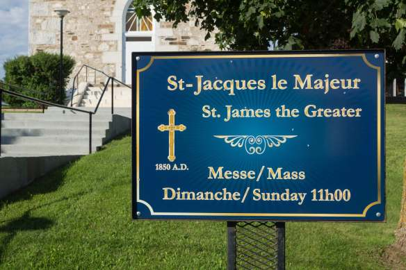 St. Jacques le Majeur sign in front of church