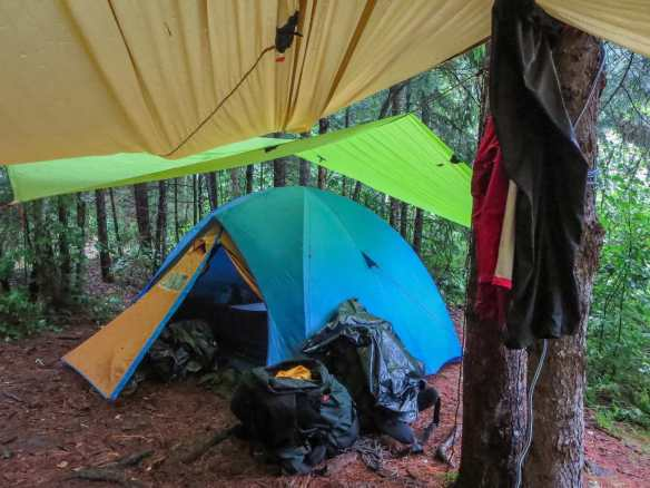 tar over tent and second tarp as covered porch at Tall Pine