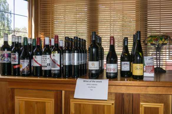 Tasmanian wines on display at the Cradle Forest Inn