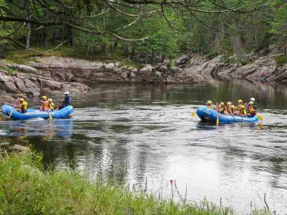Wilderness Tour rafts coming through Rocher Fendu's Middlle Channe;