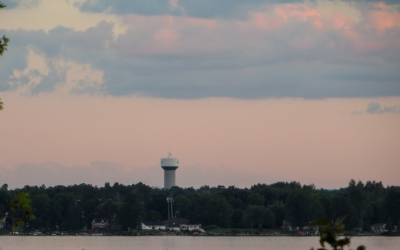 Zooming in on the Arnprior water tower and a raucous waterfront party