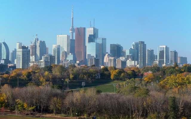 downtown Toronto closeup from the Riverdale Bridge