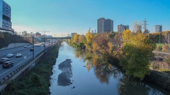 looking south on the Don River from the Riverdale Foot Bridge