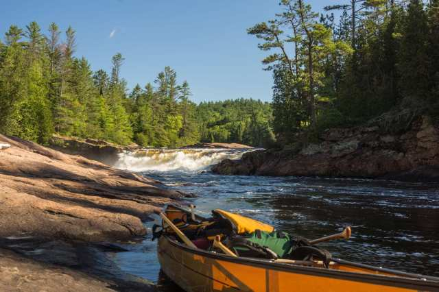 our canoe below Gallinotes Rapids first falls