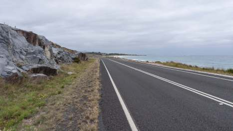cycling right along the shore on Tasmania's east coast