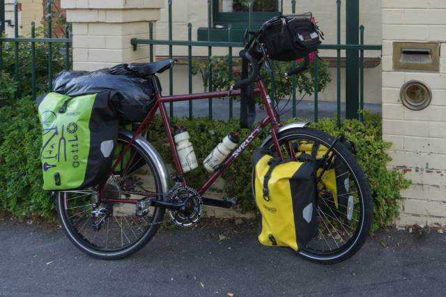 close-up of my loaded Surly bike in front of the Narrara Backpackers' Hostel in Hobart