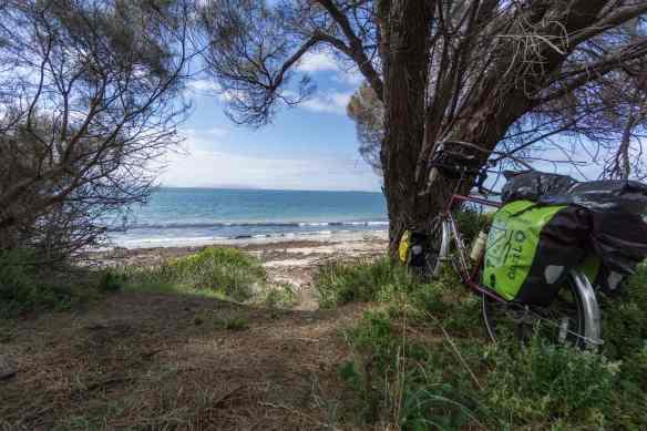 my bike on the side of A3 as I set off to walk the beach between Triabunna and Swansea