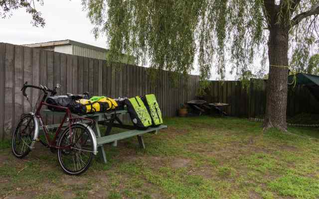 my tent spot at the Triabunna Cabin and Caravan Park -east coast Tasmania