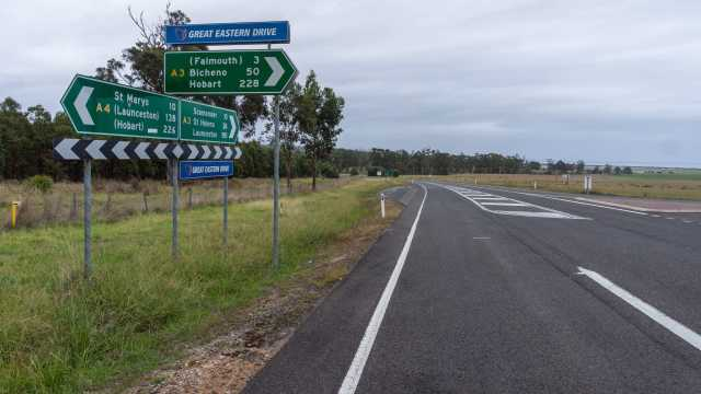 the signs at the A3/A4 Junction on east coast Tasmania.jpg