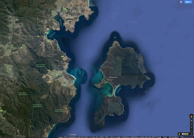 Triabunna-Maria Island Satellite shot
