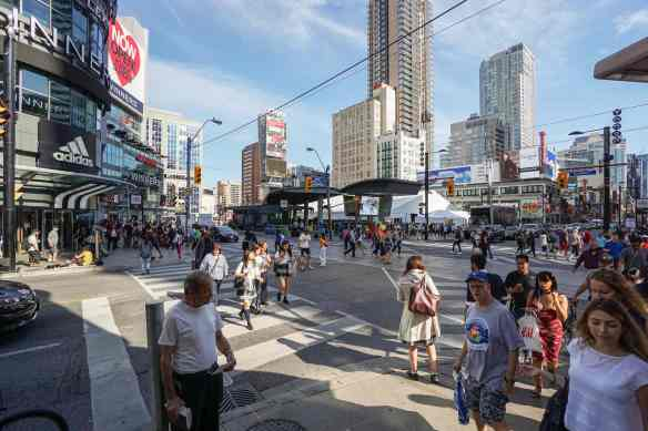 Yonge at Dundas - view from the NW corner