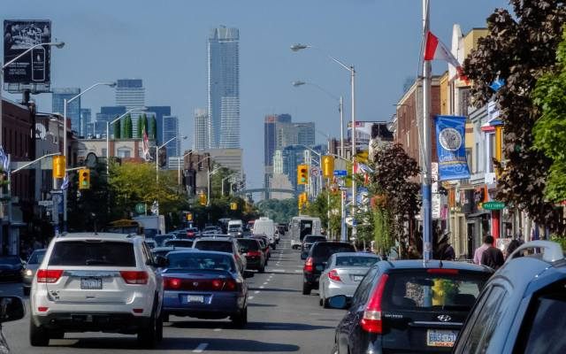 a view of One Bloor from The Danforth near Carlaw Avenue