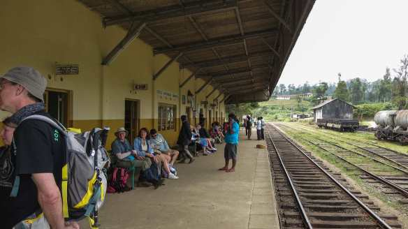 Ambewela Train Station - passenger wait for the train east