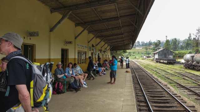 Ambewela Train Station - passenger wait for the train east