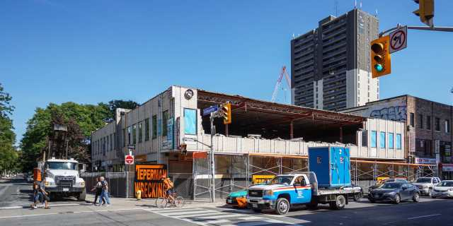 SE corner of Yonge/Gloucester demolition - Bye, Bye Aida's Felafels!