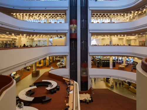 the inside of the Raymond Moriyama designed Toronto reference library