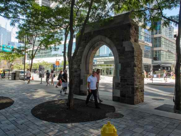 The McGill Street Arch and Parkette across from The Aura