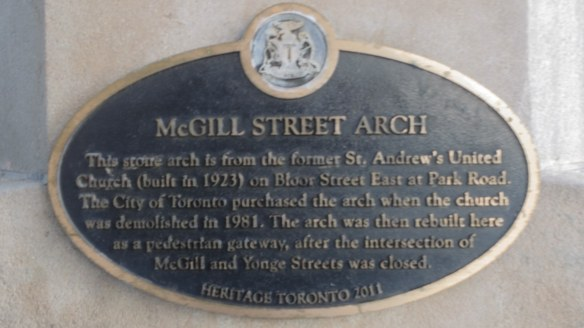 The McGill Street Arch historical plaque