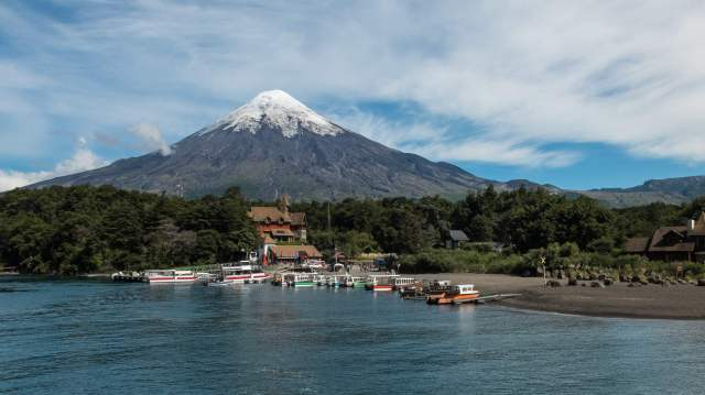 Petrohue docks and Volcan Osorno