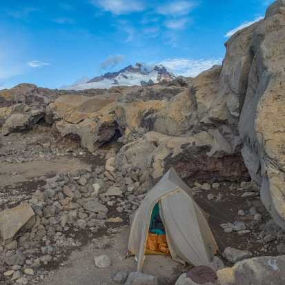 tent spot below Tronador above Refugio Otto Meiling