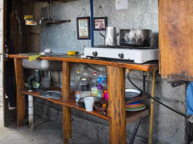 the kitchen facilities in the Frey cook shack
