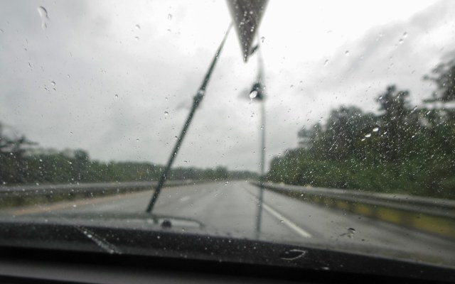 heavy rain on the way to the put-in