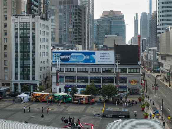 Yonge Street and Dundas Square on a traffic free Sunday