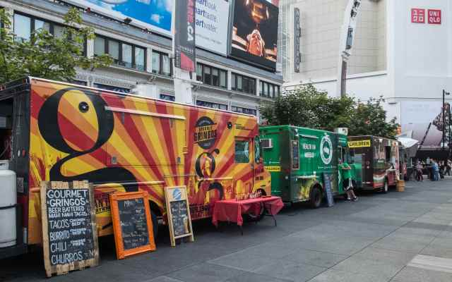 food trucks on the edge of Dundas Square