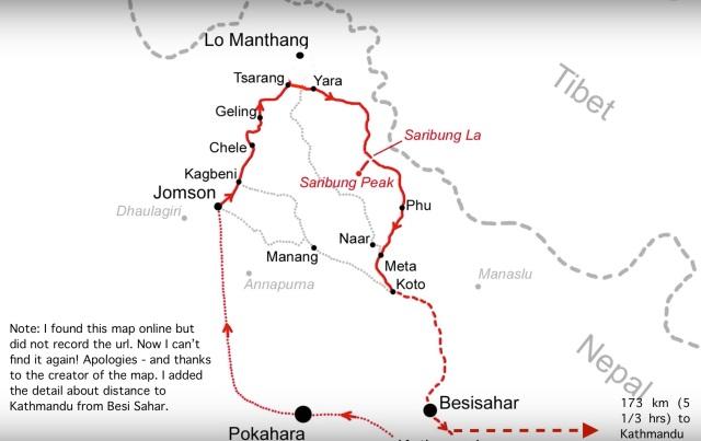 Mustang-Saribung-Phu Trek Route