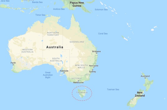 Tasmania and Australia - google map