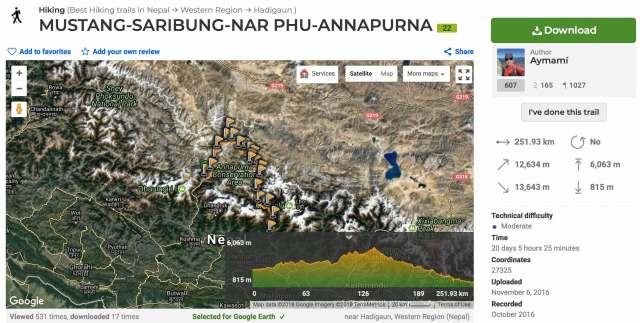 Wikiloc Mustang-Phu trek route