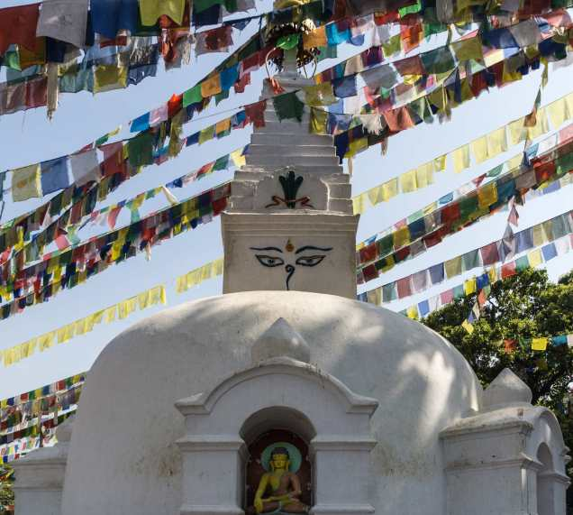Buddha figure in Swayambhu hillside stupa shrine