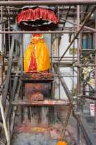 scaffolding around the Hanuman statue at Hanuman Gate - Royal Palace Durbar Square