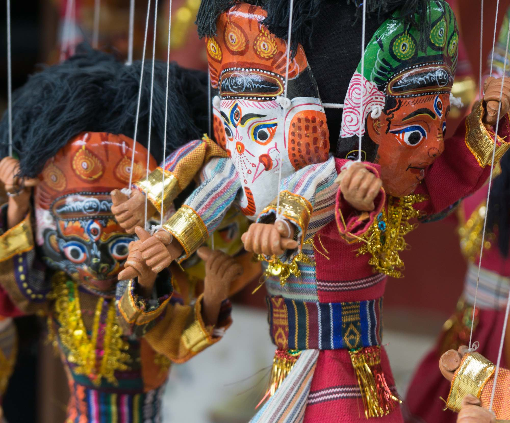 Potters' Square Bhaktapur May 2018 puppets hanging around
