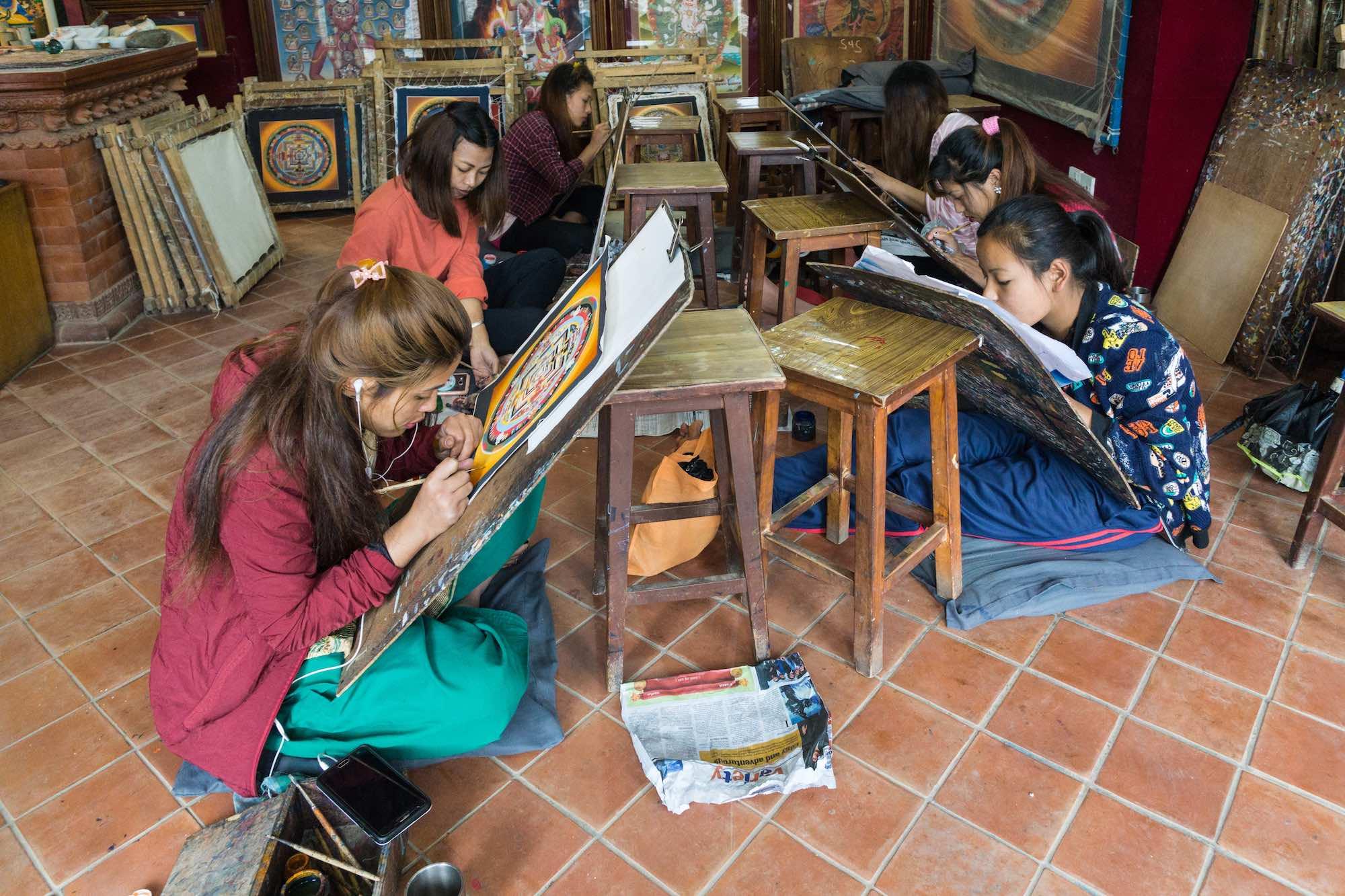 thangka shop - young women painting