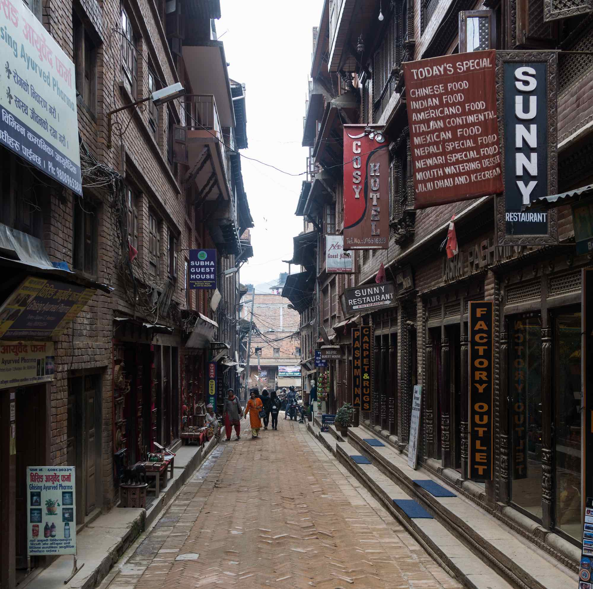 the street from Taumadhi Tol to Potters' Square