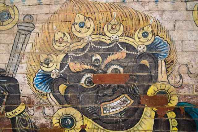 Bhairab painting on Patan Durbar Square wall - May 2018