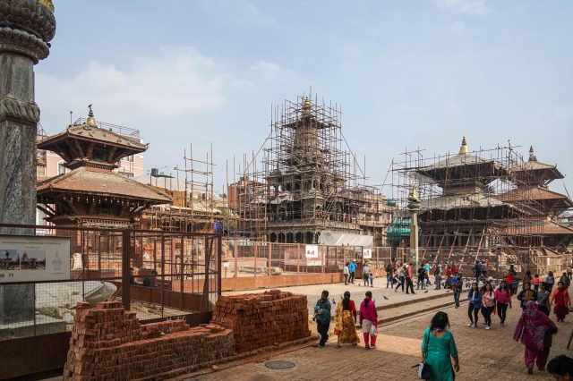 Durbar Square Patan May 2018 - scaffolding everywhere!