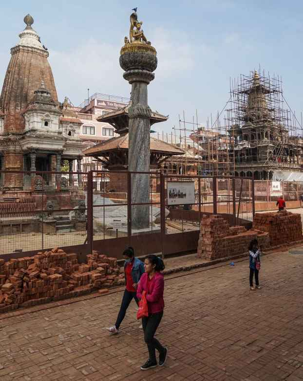 Patan May 2018 - Yognarendra Malla Statue and Stone Pillar restoration