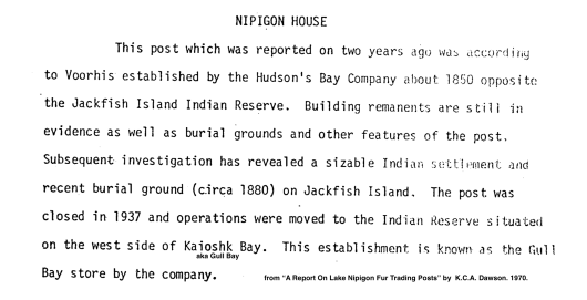 Dawson. Nipigon House HBC Post.