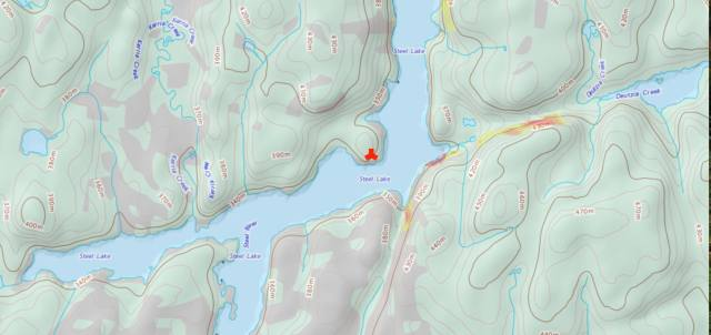 the approximate location of the campsite charlie mentions in the comment above