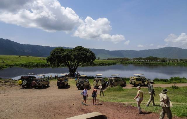 Ngorongoro waterhole - and toilet stop