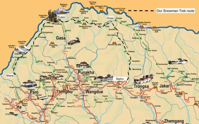 Bhutan - Snowman Trek Route